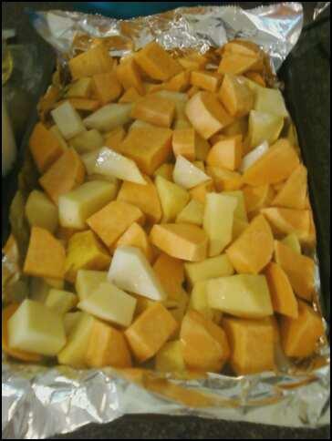 Pre-roasted root veggies