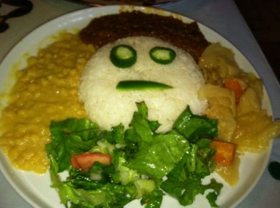 Vegetarian Options w/ Rice at Blue Nile