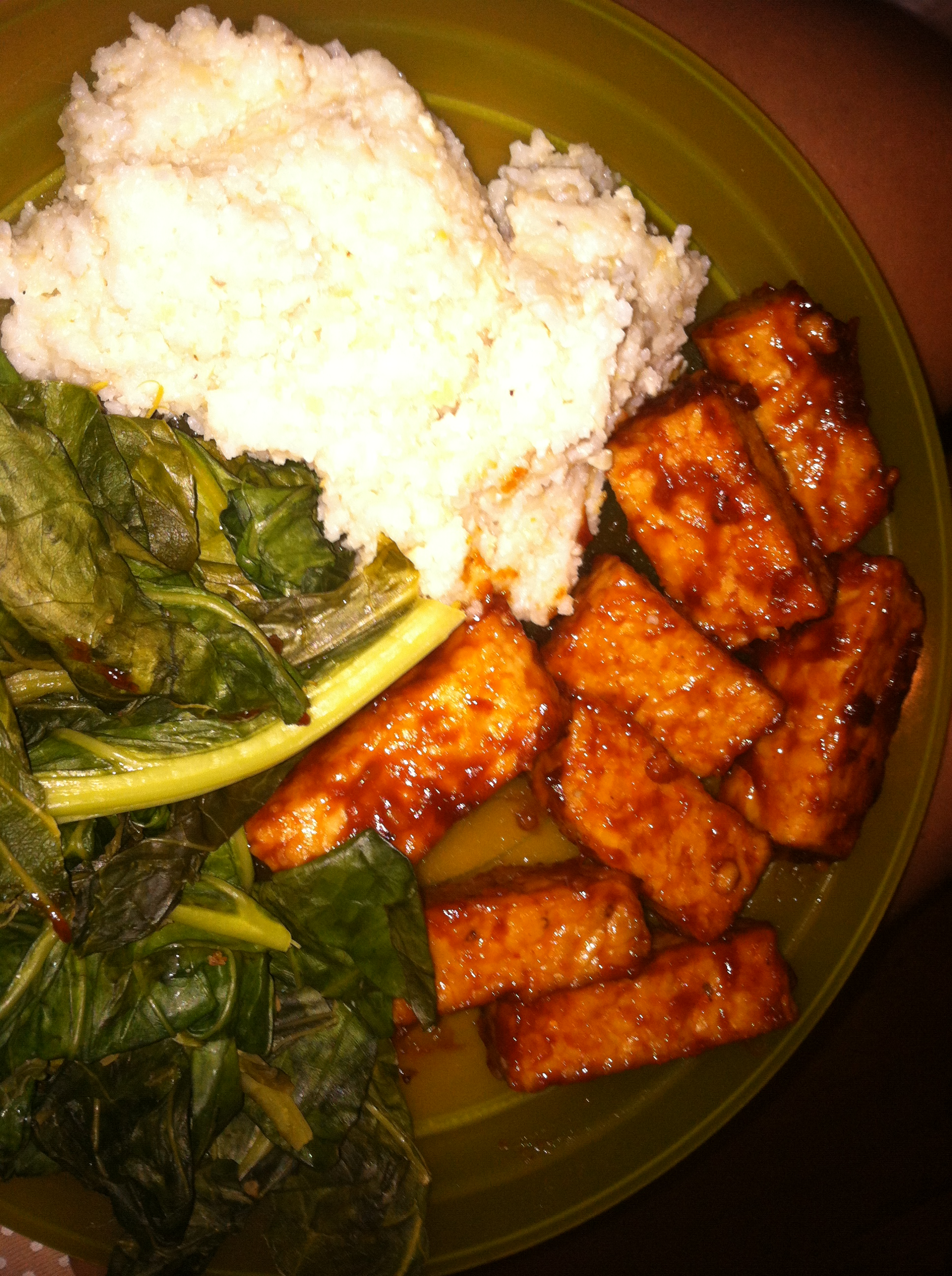 BBQ Tempeh with Creamy Grits (adapted from Bryant Terry ...