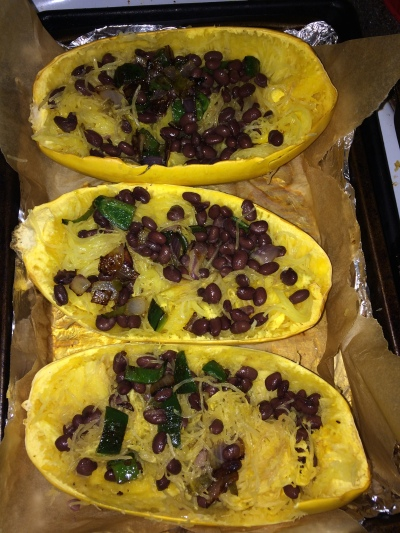 spaghetti squash w/ black bean, onion, poblano pepper